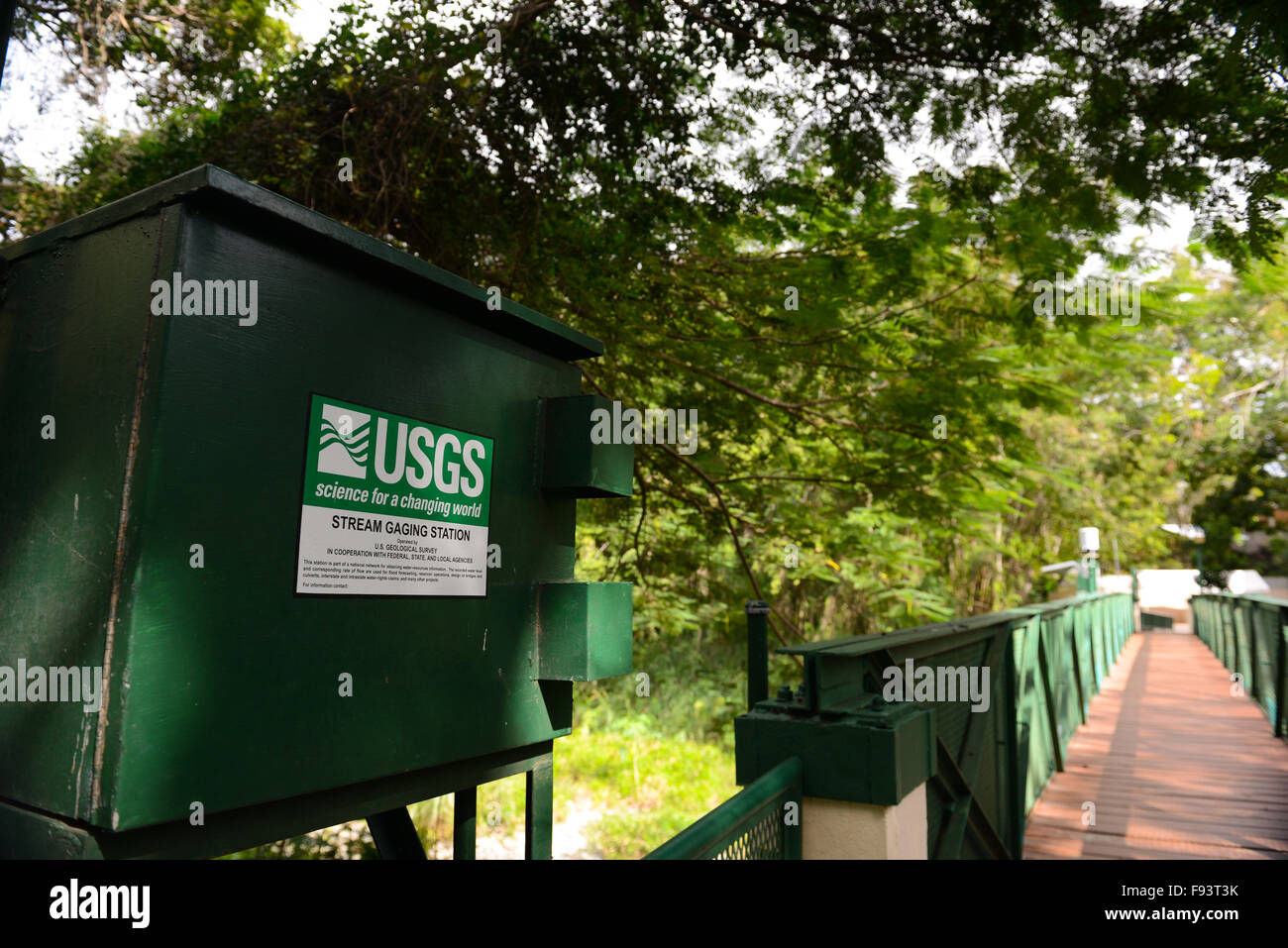 USGS - Stream gaging station at the Tibes Indigenous Ceremonial Center. Ponce, Puerto Rico. Caribbean Island. USA - Stock Image