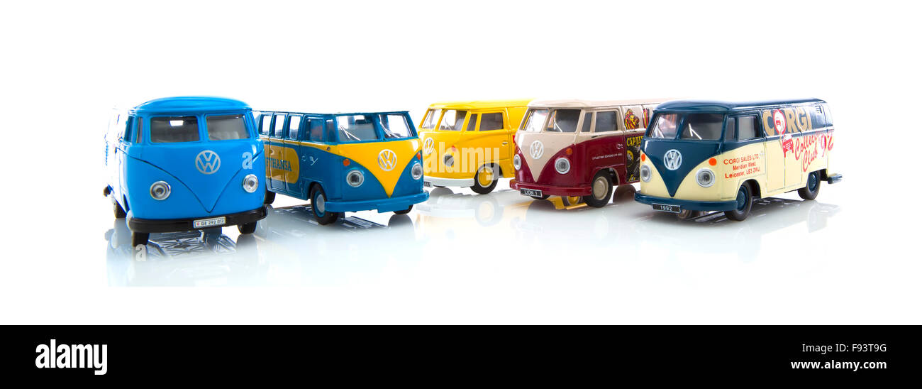 Collection Of  Old VW Vans and Campers Made By Corgi on a White Background - Stock Image
