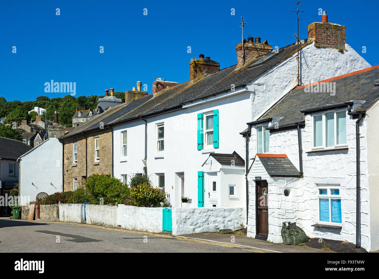 Fishermens cottages at Newlyn in Cornwall, UK - Stock Image