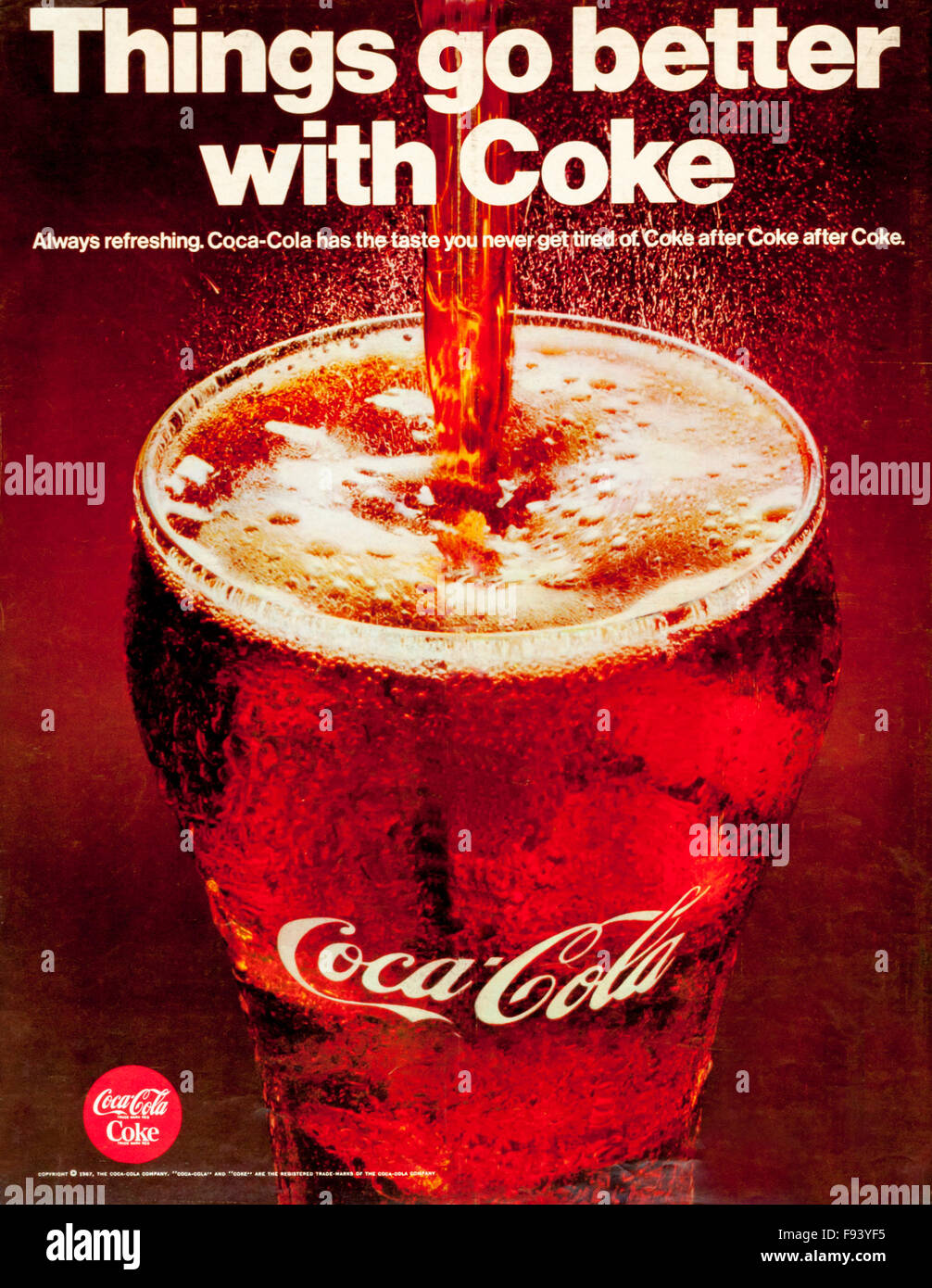 1960s magazine advertisement advertising Coca-Cola. Things go better with coke. Stock Photo