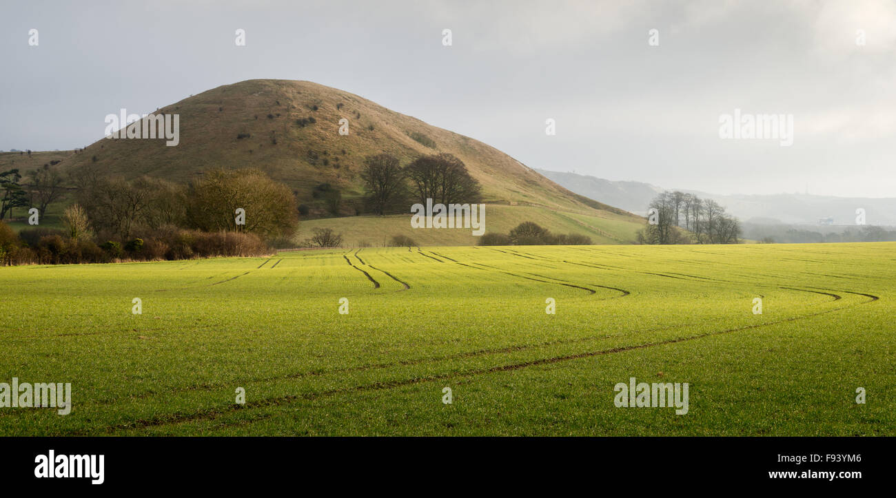 Summerhouse Hill is a natural feature of the Kent Downs AONB near Folkestone. - Stock Image