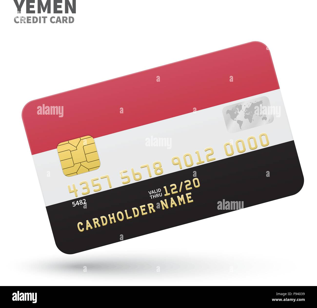 Credit card with Yemen flag background for bank, presentations and business. Isolated on white - Stock Vector
