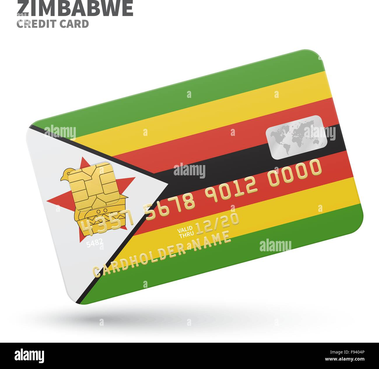 Credit card with zimbabwe flag background for bank presentations credit card with zimbabwe flag background for bank presentations and business isolated on white reheart Image collections