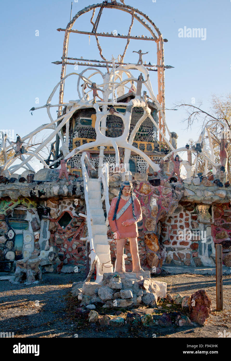 Detail of sculpture and structure at Thunder Mountain, Nevada, US, 2015. - Stock Image