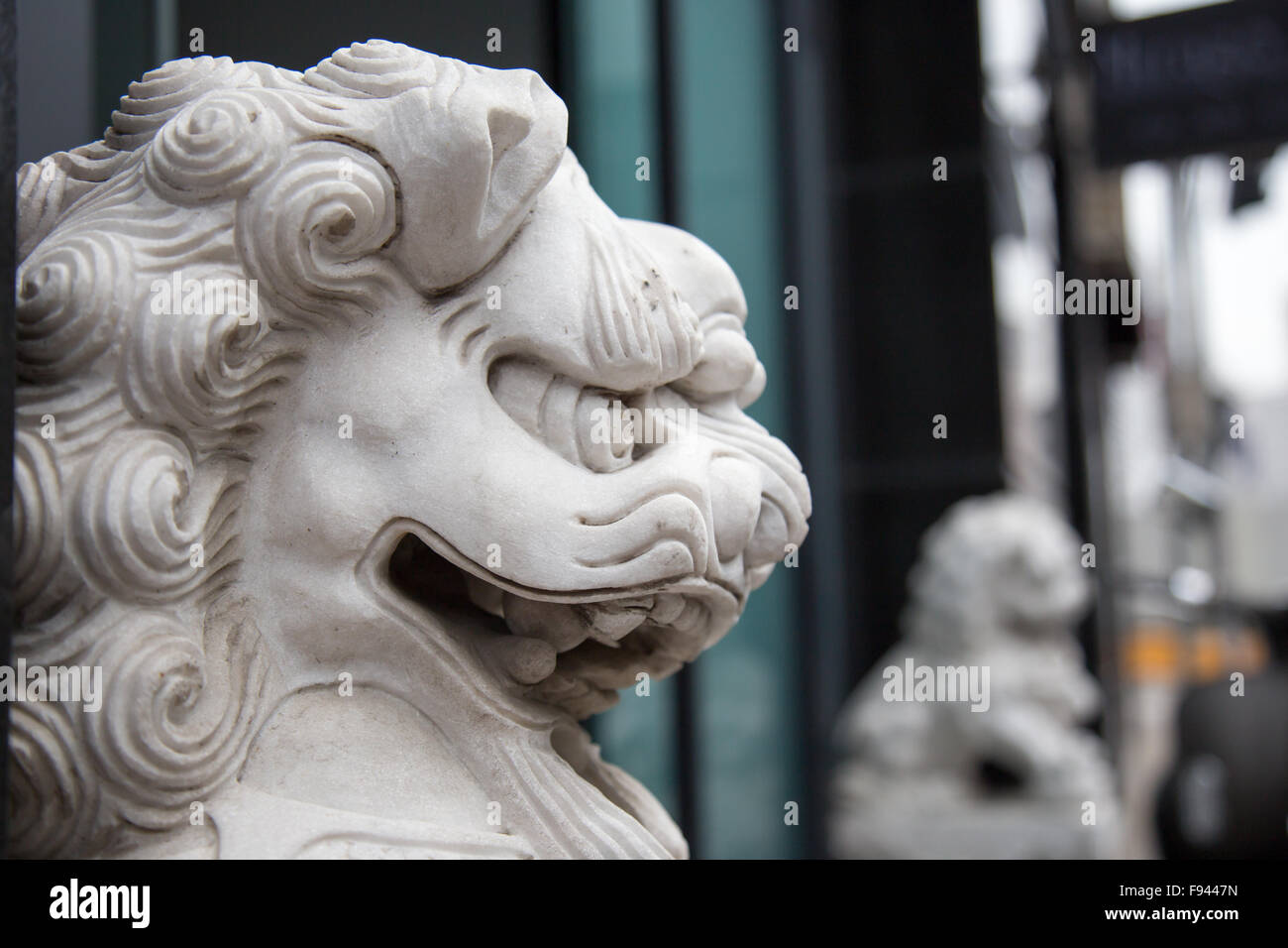 Fierce chinese dragon lion sculpture - Stock Image
