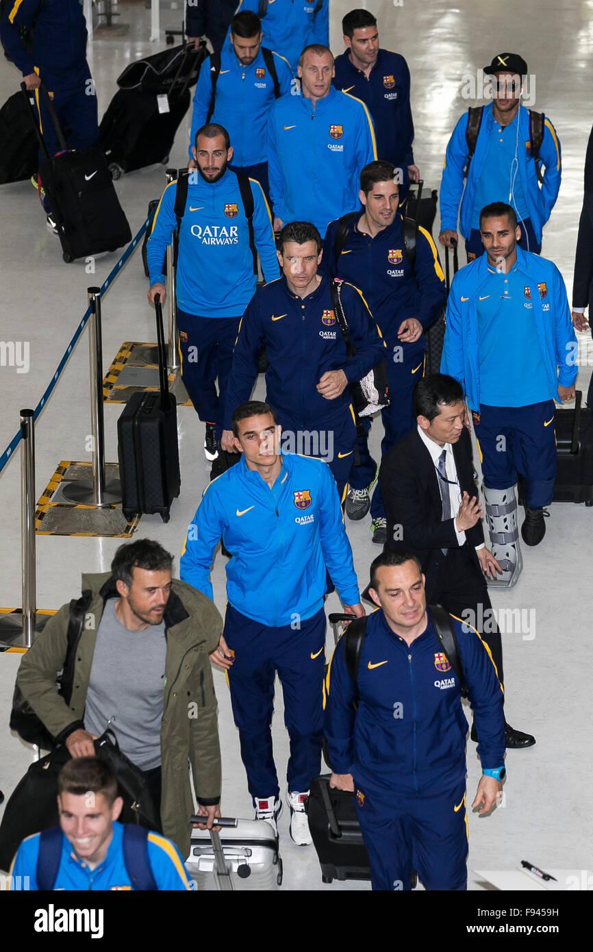 Narita, Japan. 14th December, 2015. FC Barcelona soccer team arrive at Narita International Airport on December - Stock Image