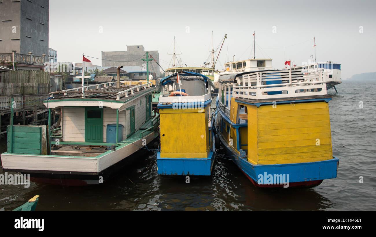 River Boats at Kumai, Kalimantan, Indonesia - Stock Image