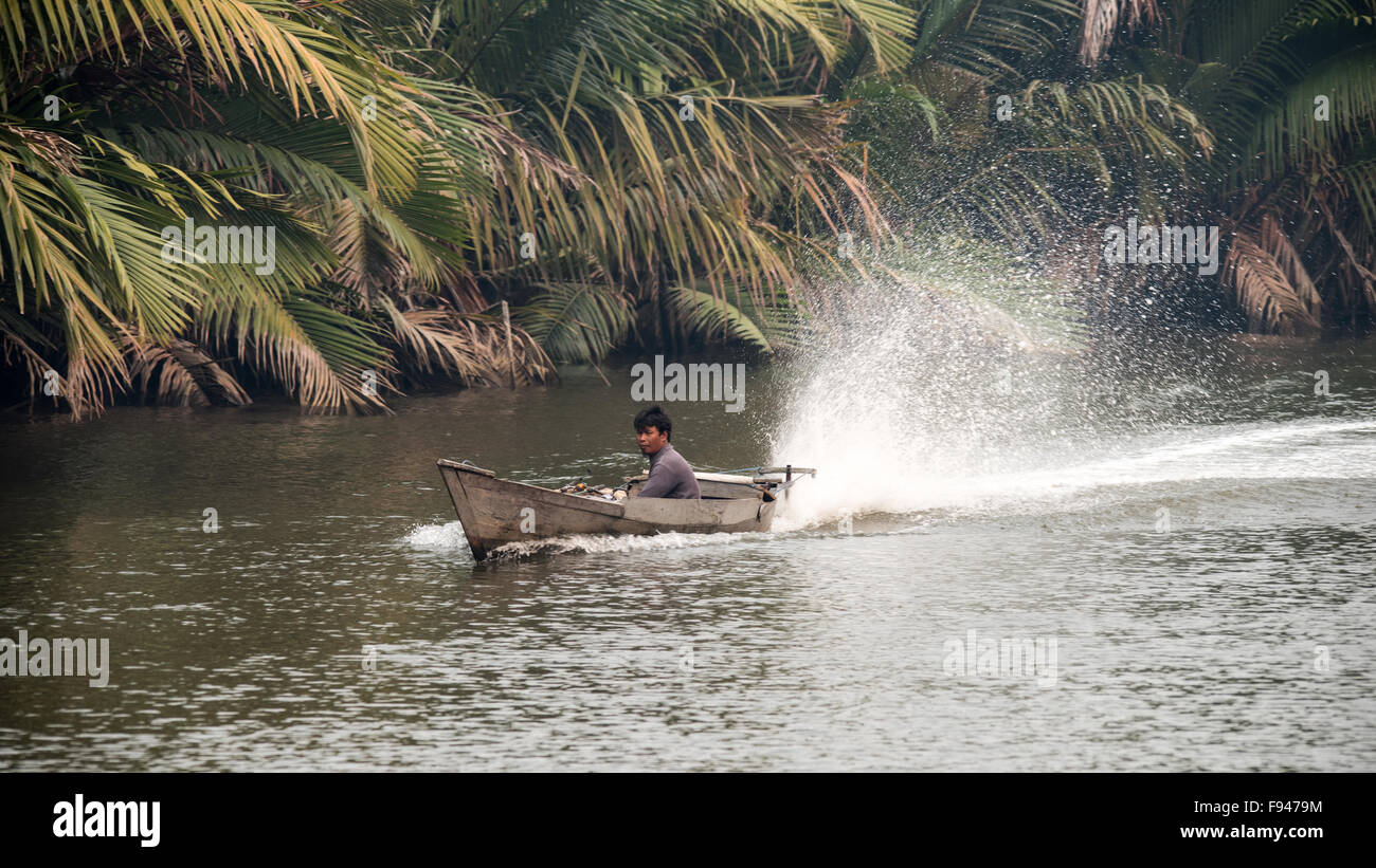 Motorised Fishing Boat, Tanjung Puting National Park, Kalimantan, Indonesia - Stock Image