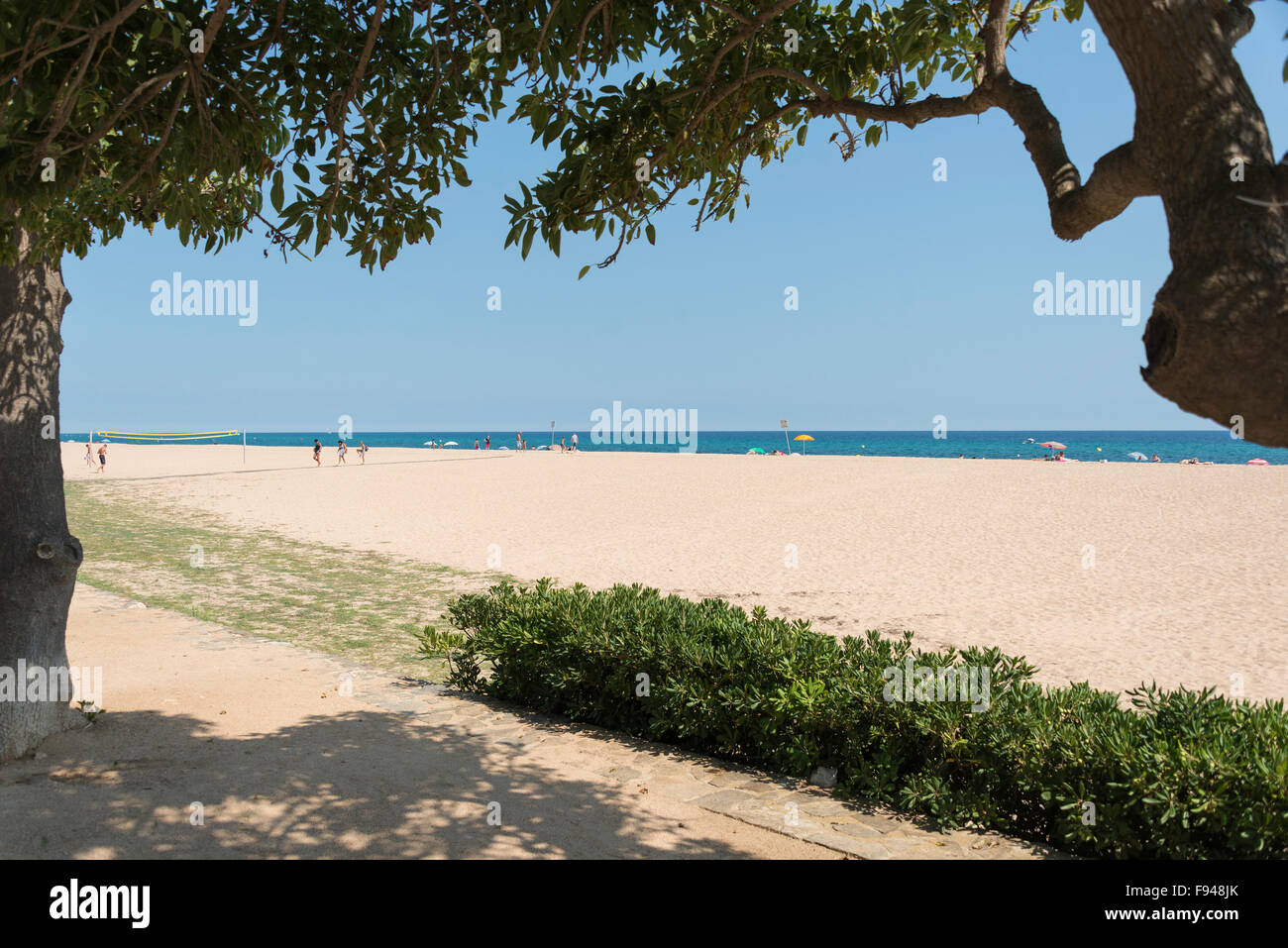 Beach view, Malgrat de Mar, Costa del Maresme, Province of Barcelona, Catalonia, Spain - Stock Image