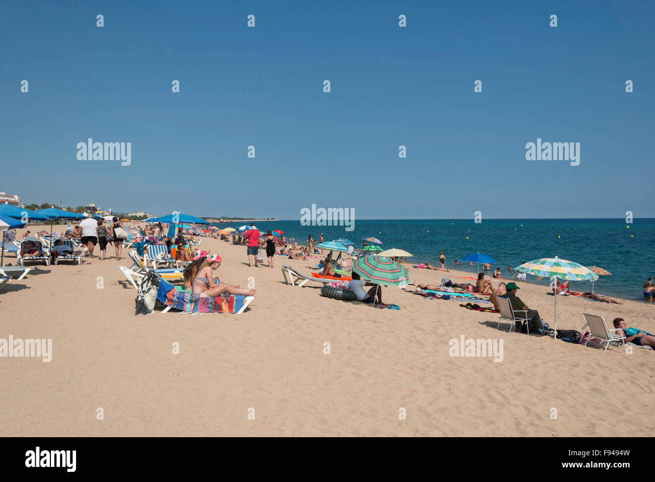 Main Beach, Malgrat de Mar, Costa del Maresme, Province of Barcelona, Catalonia, Spain - Stock Image