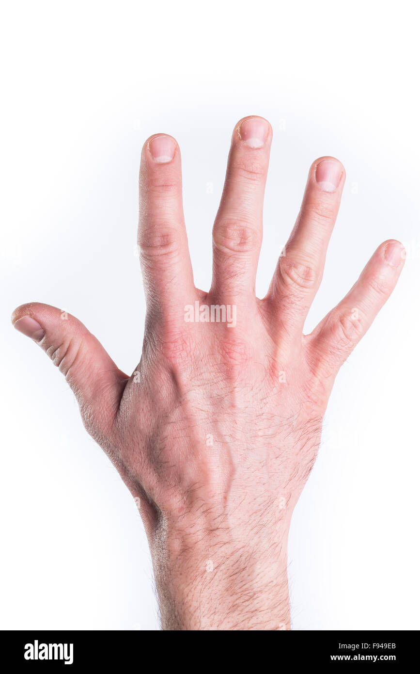 Man's hand mimic numbers on white background - Stock Image