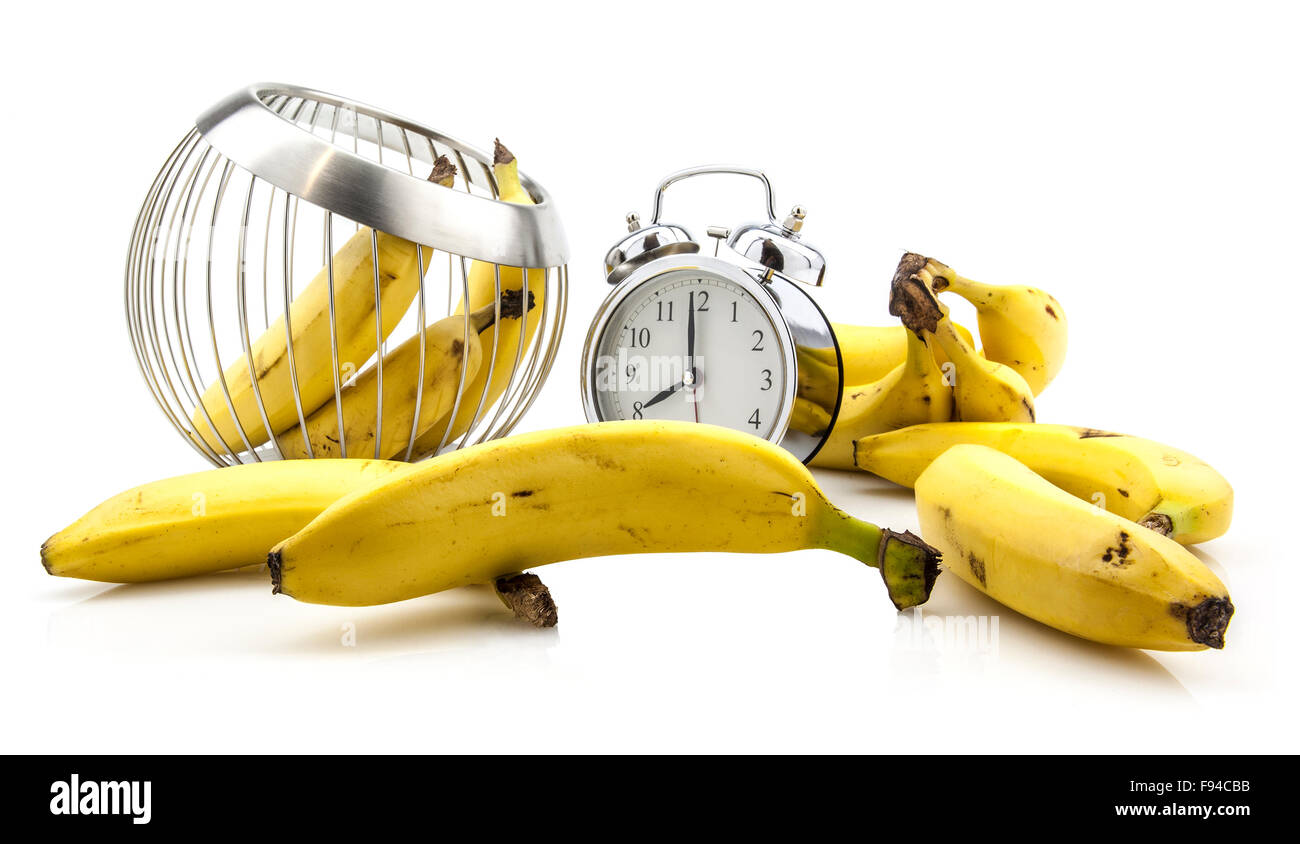 Banana Time clock with bananas on white background Stock Photo