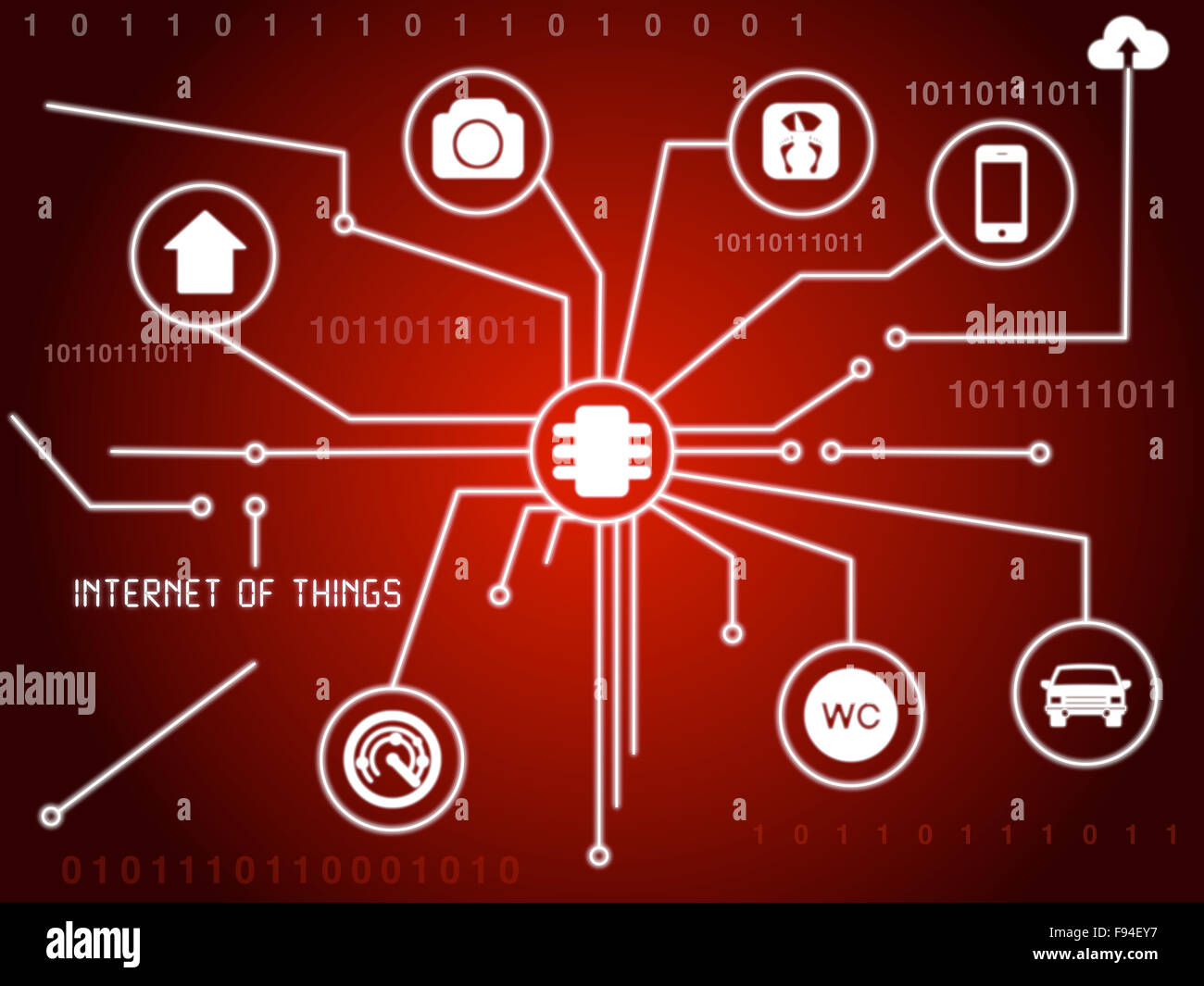 The internet of things concept illustration as a red circuit board - Stock Image