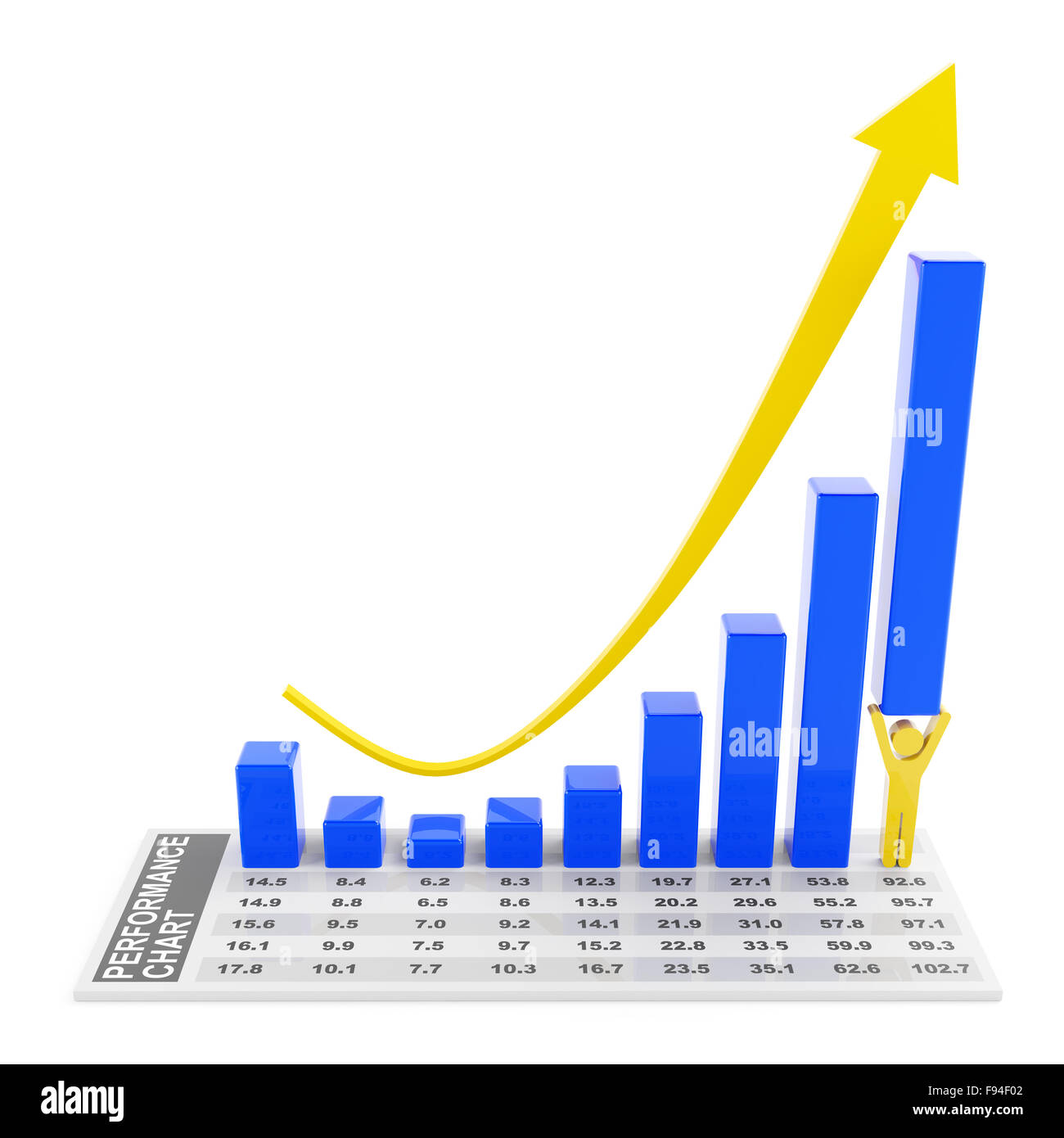 Rebounding Chart With Character Lifting The Tallest Bar Stock Photo 91683314 Alamy