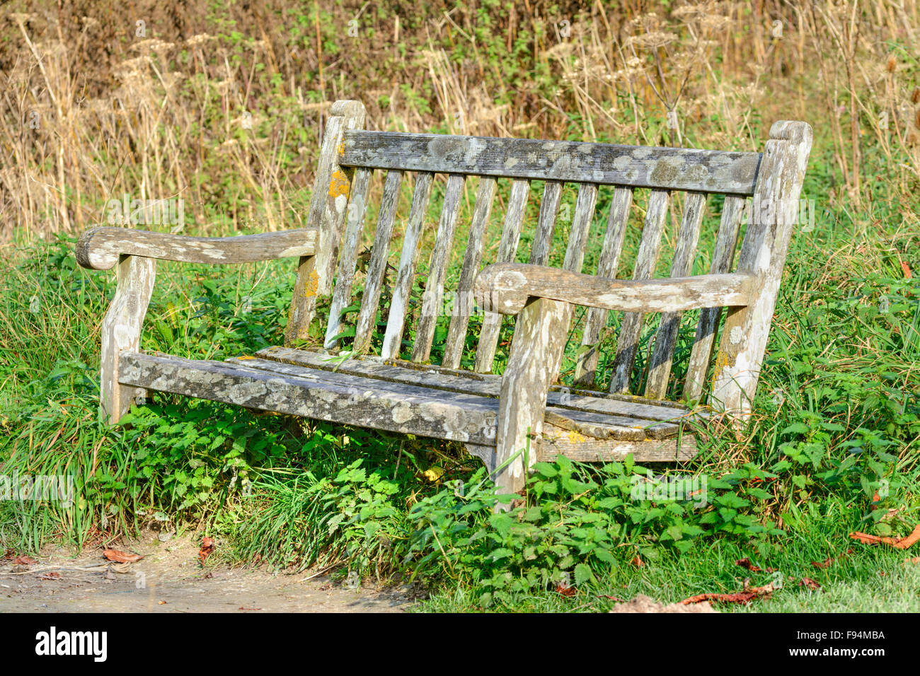 Rotting Old Wooden Bench In A Park.   Stock Image
