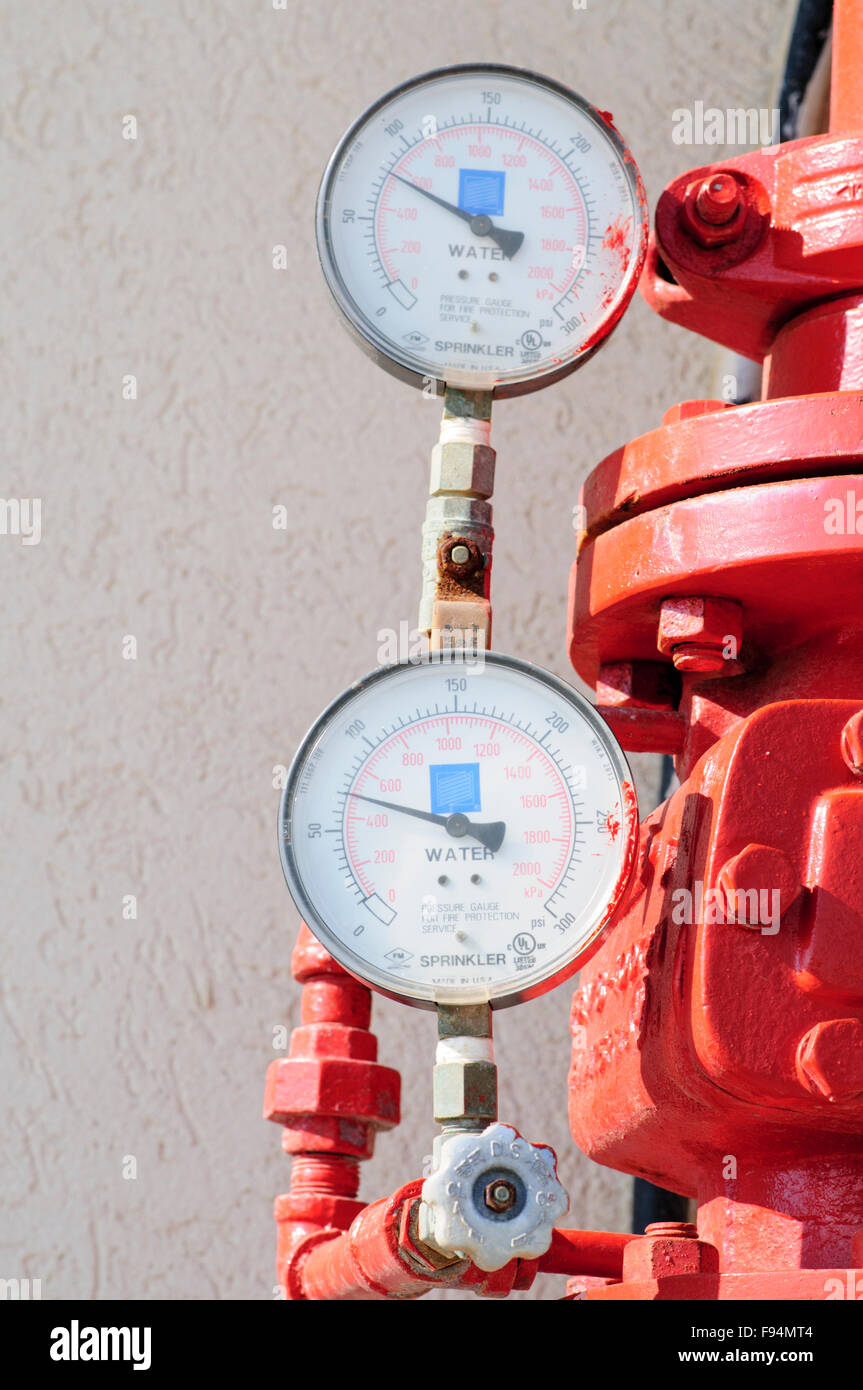 Water pressure gauge on  fire suppression system - Stock Image