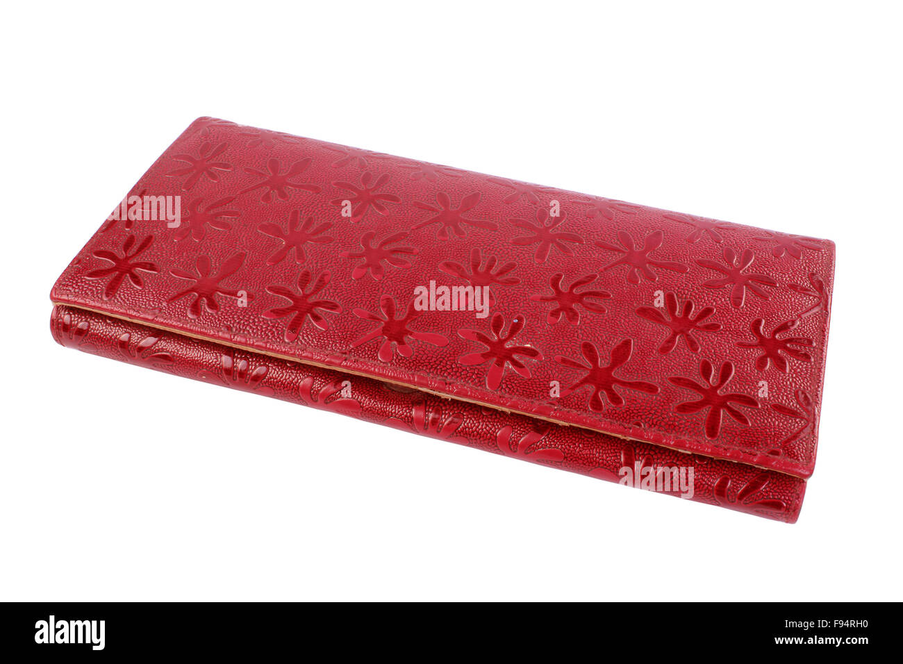 eautiful red makeup bag isolated on white - Stock Image