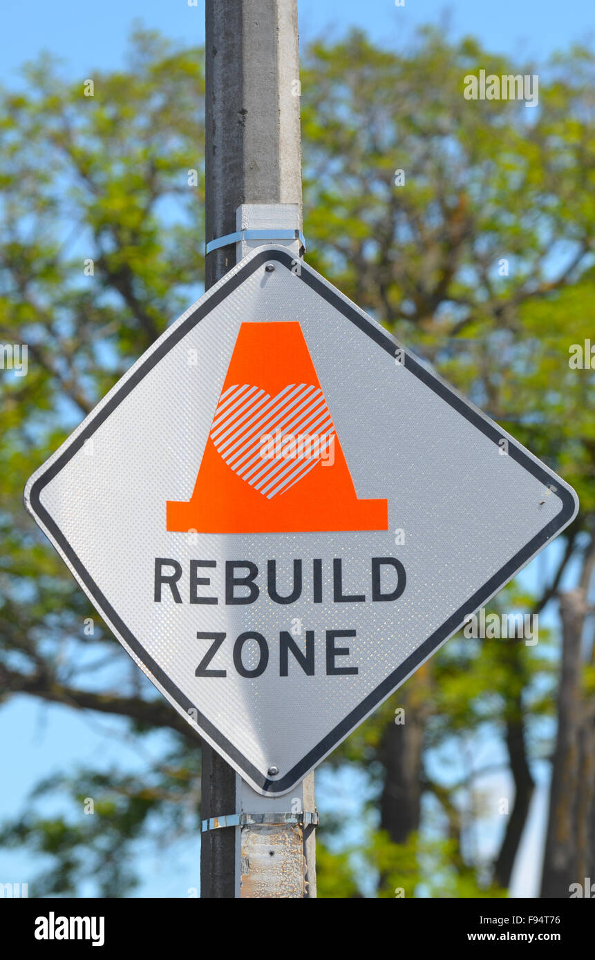 CHRISTCHURCH,  NZL - DEC 07 2015:Rebuild Zone Sign in Christchurch - New Zealand.Over 1000 buildings in the CBD - Stock Image