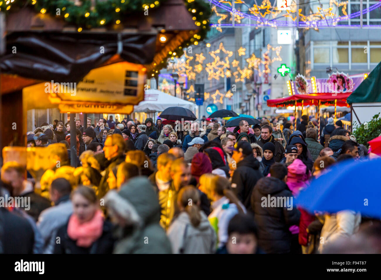 Christmas shopping in the city center of Essen, Germany, Christmas decoration in the streets, Christmas market, - Stock Image
