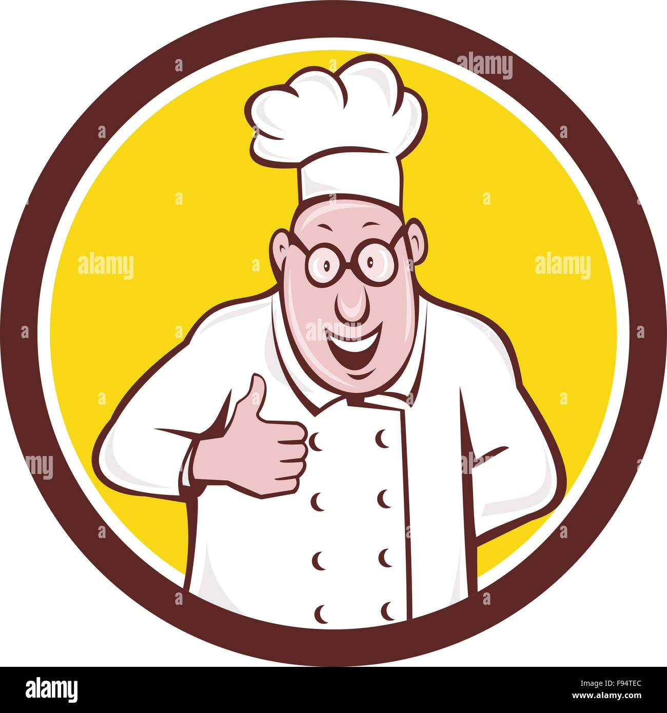 Illustration of a chef cook smiling wearing chef s hat and eyeglasses doing  a thumbs up viewed from front set inside circle on isolated background done  in ... 8663607efec3