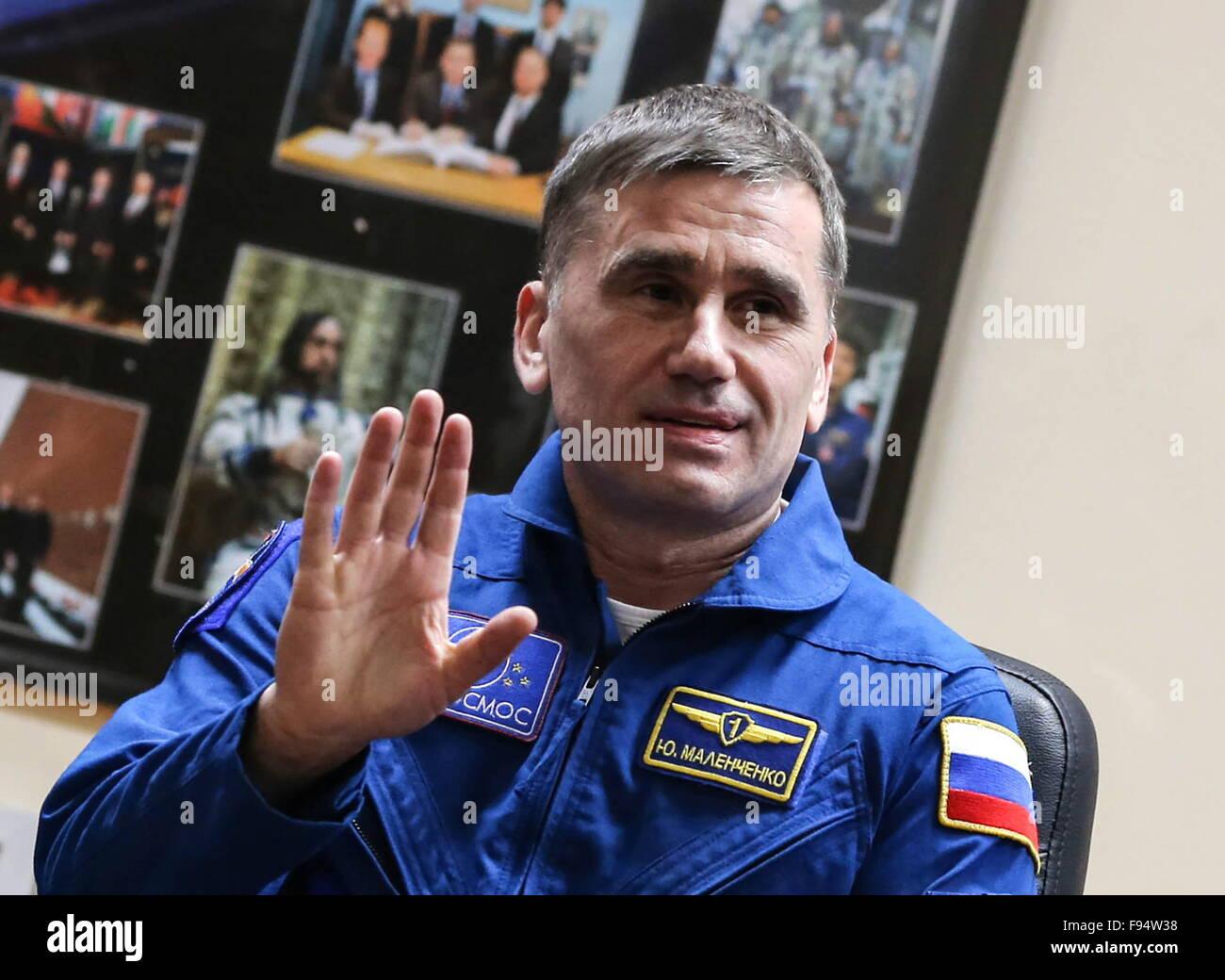 Baikonur, Kazakhstan. 14th Dec, 2015. ISS Expedition 47/46 crew member, Roscosmos cosmonaut Yuri Malenchenko of - Stock Image