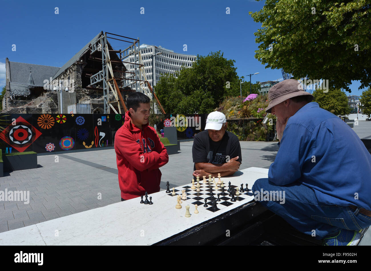 CHRISTCHURCH,  NZL - DEC 04 2015:People play Chess in Cathedral Square. About 600,000,000 (Six hundred million) - Stock Image