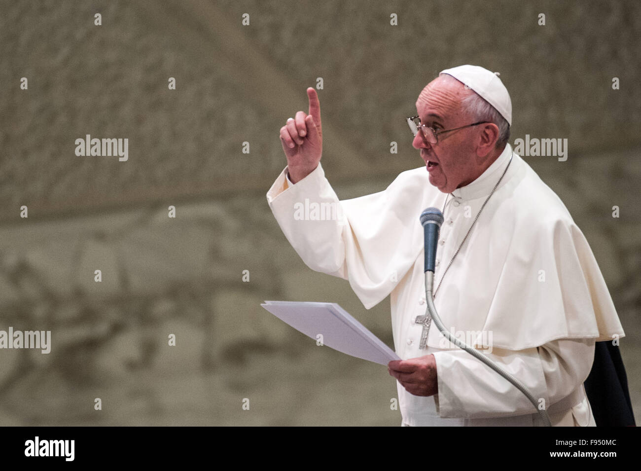 Pope Francis leads an audience with members of the Don Guanella charity organisation at Pope Paul VI Hall  Featuring: - Stock Image