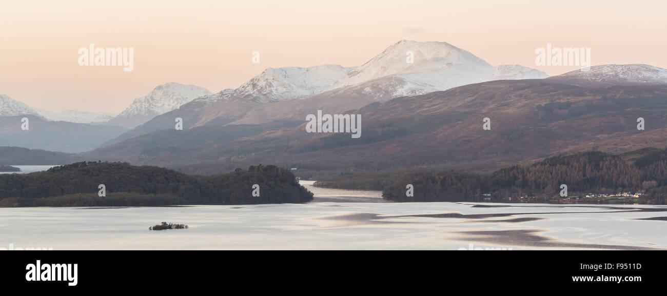 View of Ben Lomond above a cold Loch Lomond in winter - Scotland, UK - Stock Image