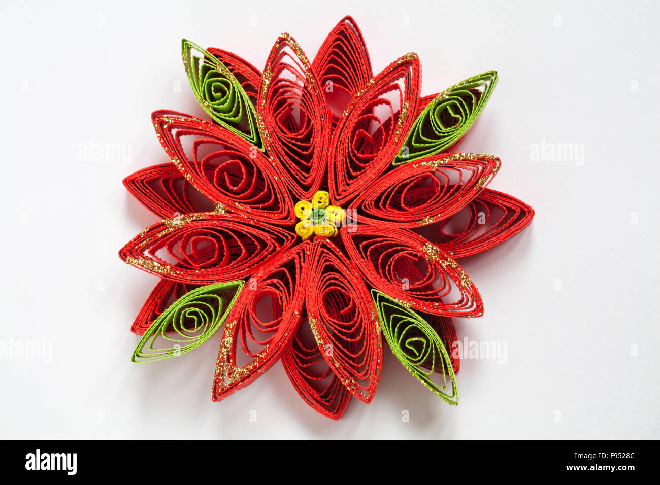 Paper Quilling Detail Of Christmas Poinsettia Flower Paper