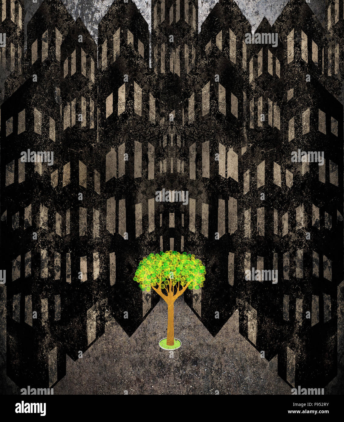 lonely tree in a cityscape digital illustration - Stock Image