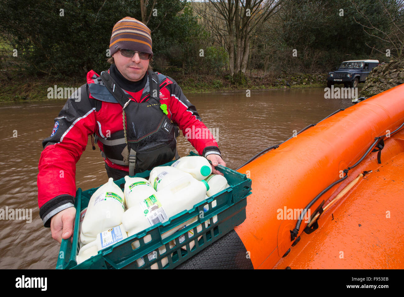 On Saturday 5th December 2015, Storm desmond crashed into the UK, producing the UK's highest ever 24 hour rainfall - Stock Image