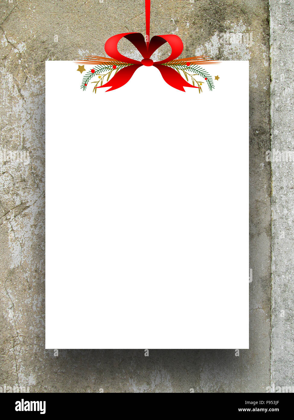 Single Empty Rectangular Paper Sheet Frame With Xmas Ribbon Stock