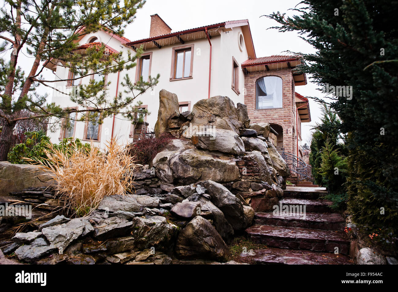 Wet Stone Steps In The Backyard Of Mansion