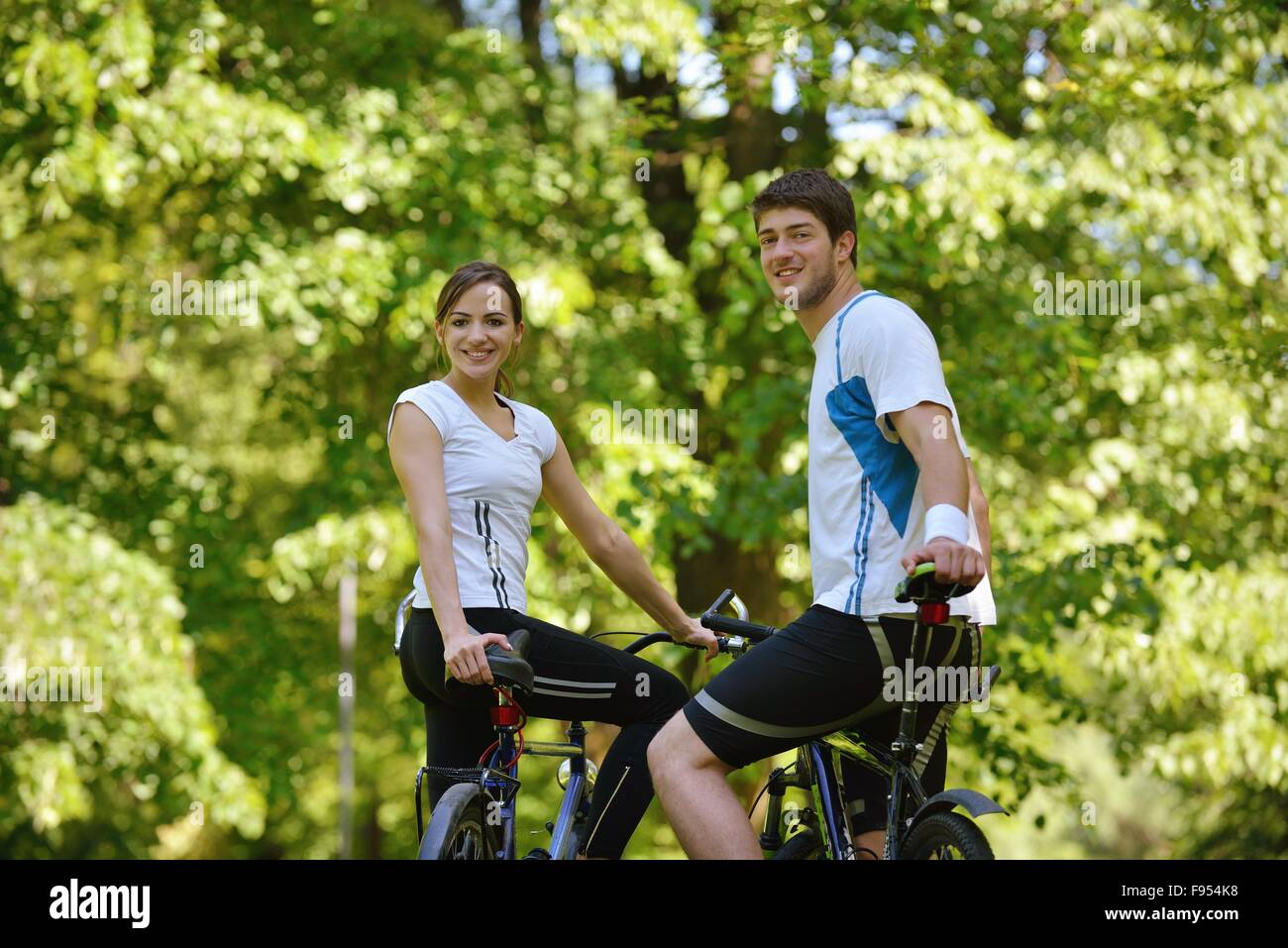 Happy Couple Ride Bicycle Outdoors Health Lifestyle Fun Love