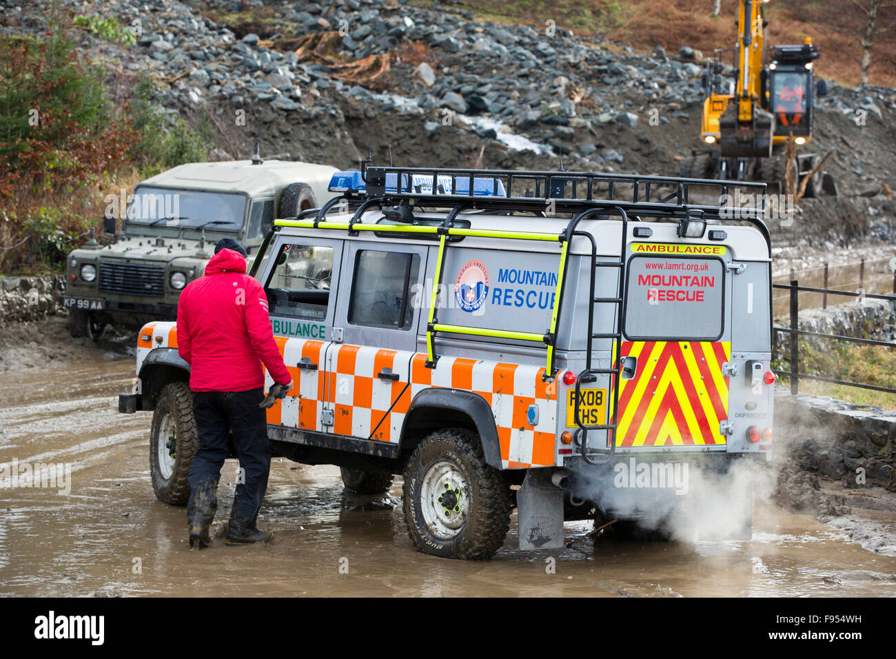 Storm Desmond created the worst floods the Lake District has ever seen, wreaking havoc on the roads. The A591, the - Stock Image