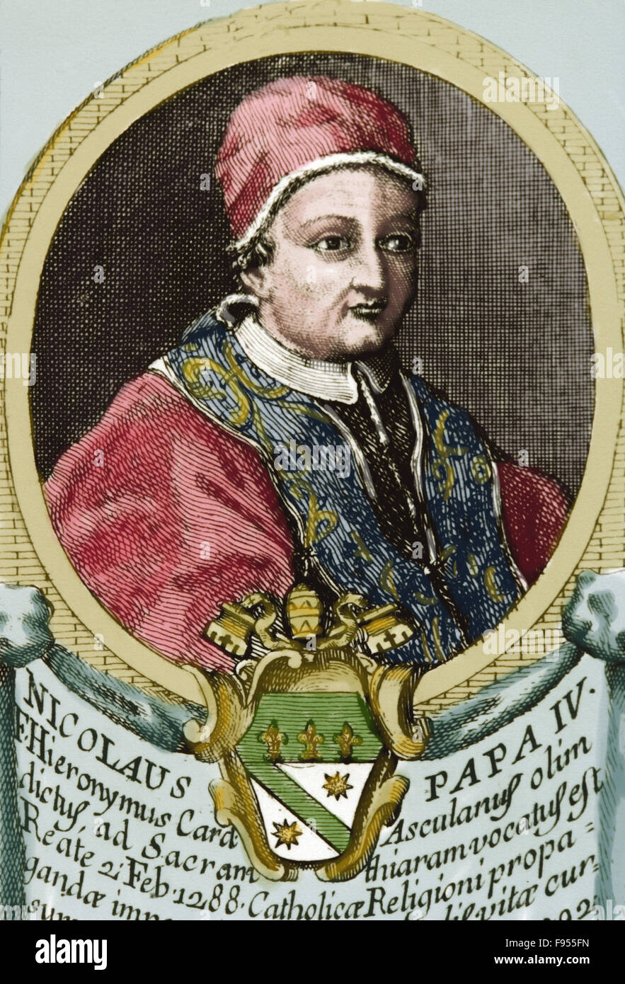Pope Nicholas IV (1227-1227). Born Girolamo Masci. Pope from 1288-1292. Portrait. Engraving. Colored. - Stock Image