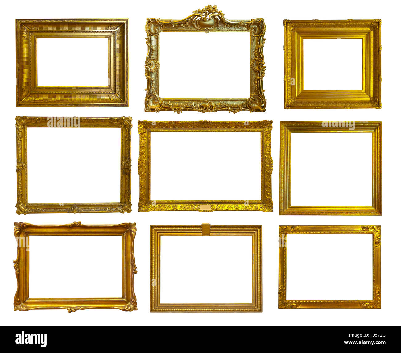 Set Of 9 Gold Picture Frames Isolated Over White Background With Clipping Path