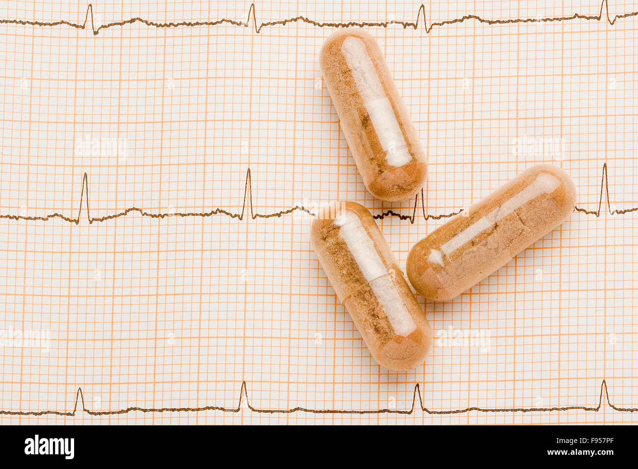 as measured by the patient's heartbeat and visual using drugs to stay healthy - Stock Image