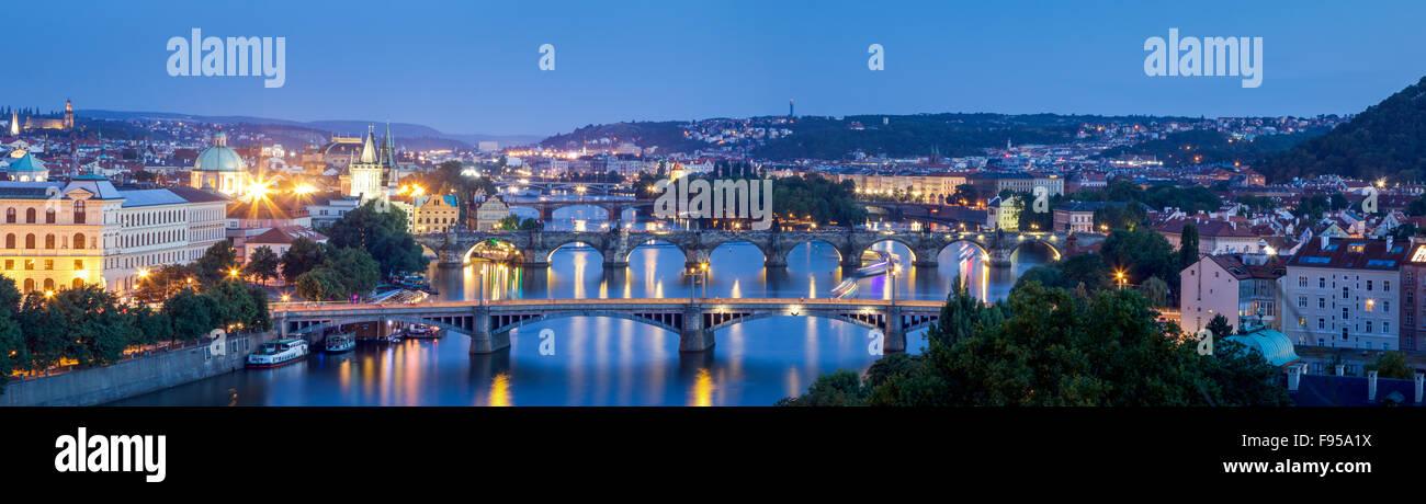 Prague Bridges from Letna - Stock Image