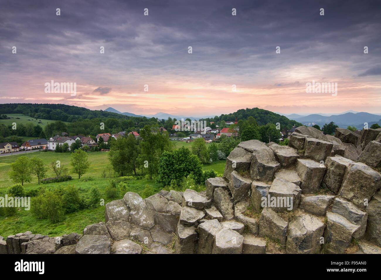 Basalt Columns Czech republic - Stock Image