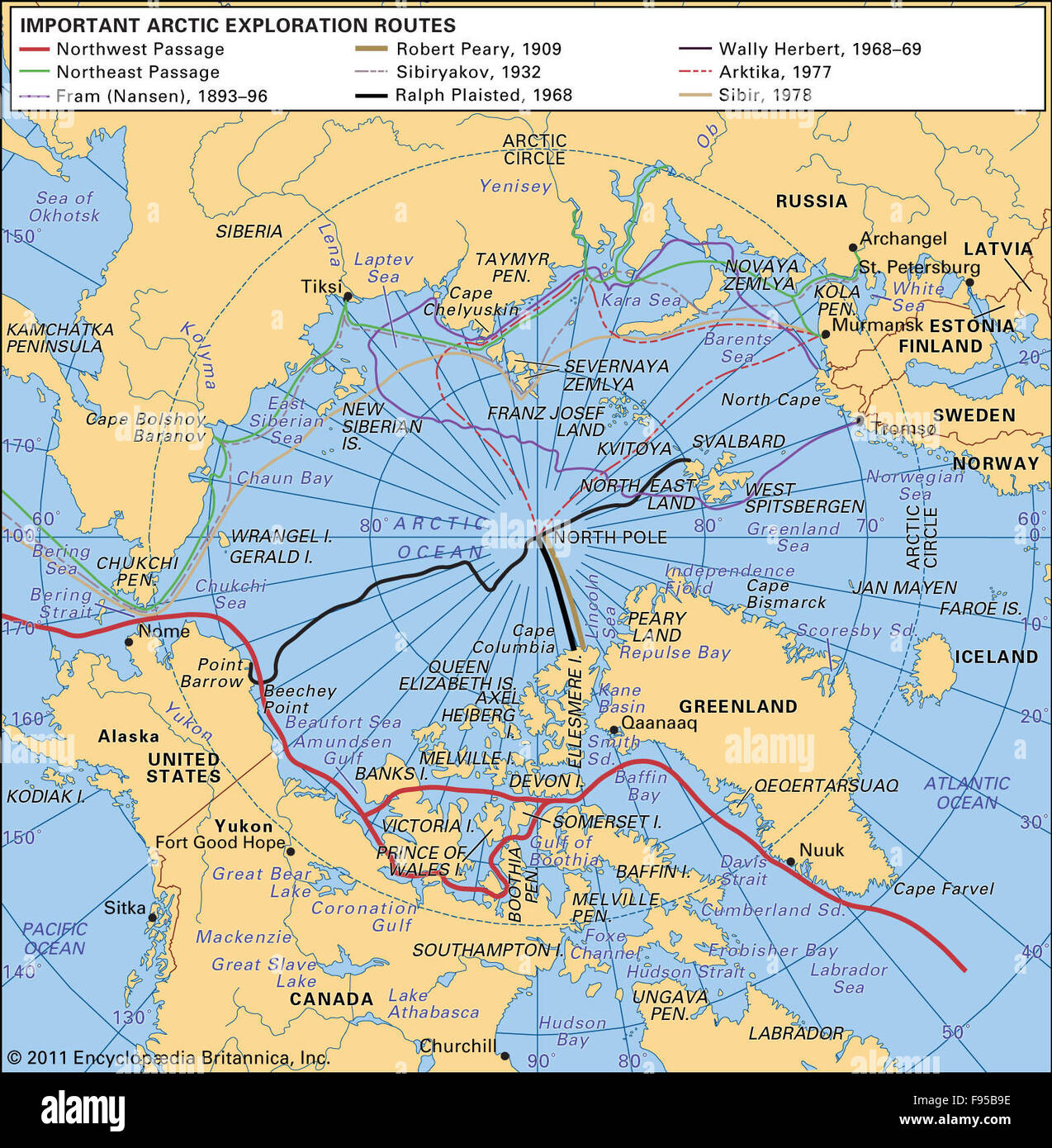 Routes of major Arctic explorations - Stock Image