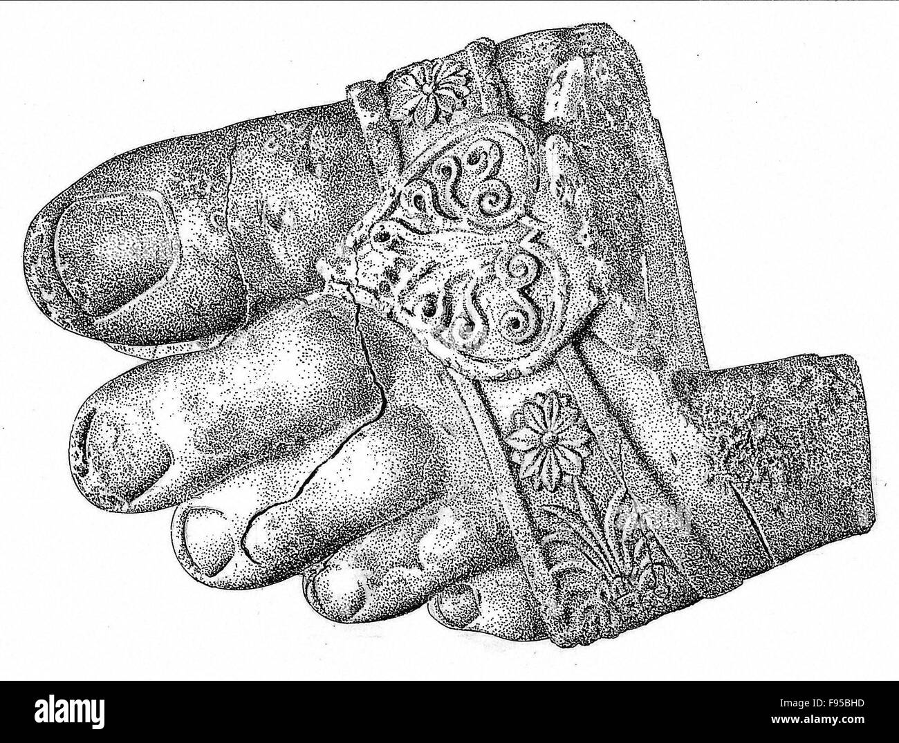 The foot of a colossal male statue. - Stock Image