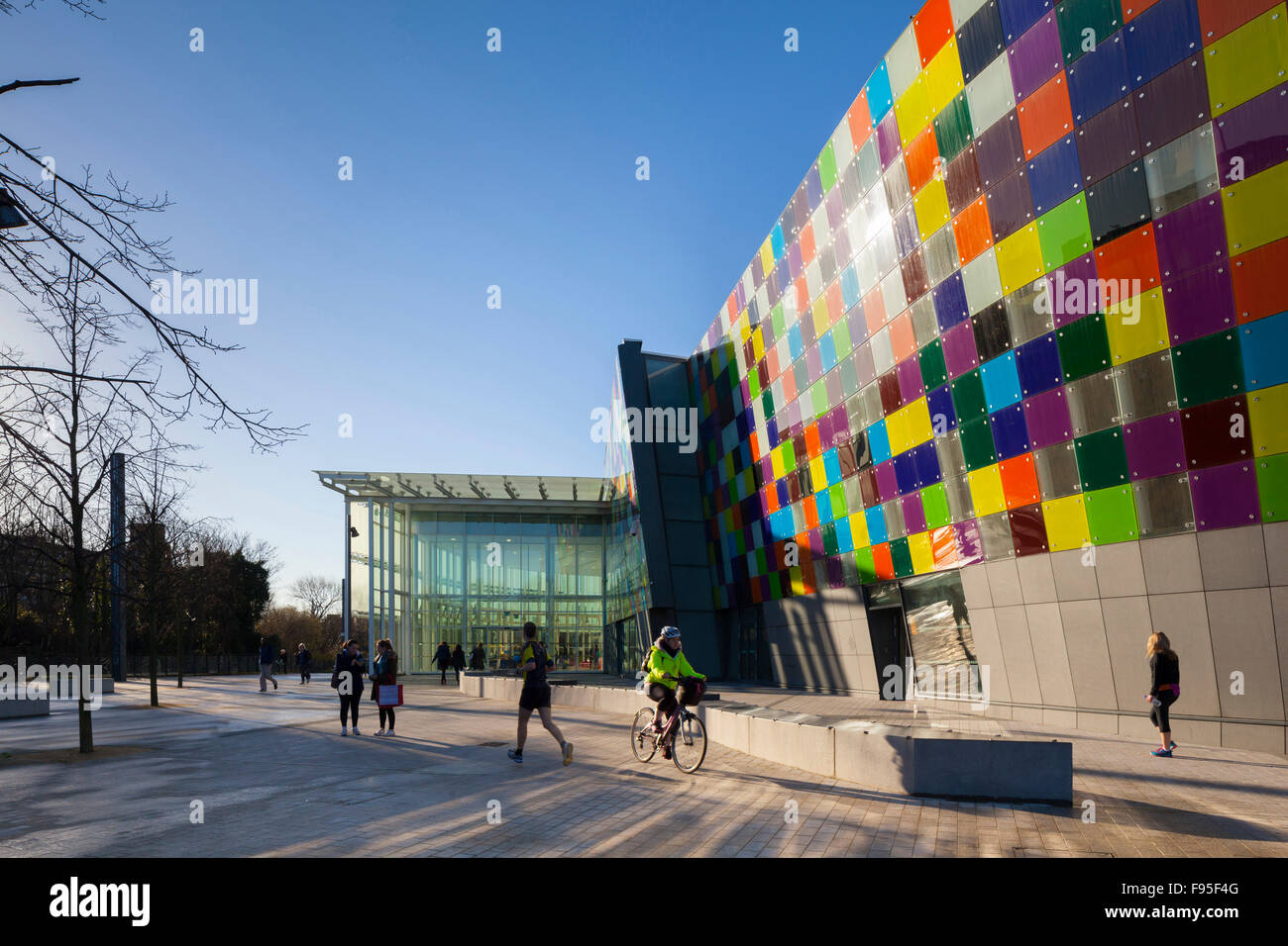 The Glass Mill Leisure Centre is situated on the lowest three floors of a 27 storey apartment building in Lewisham. - Stock Image