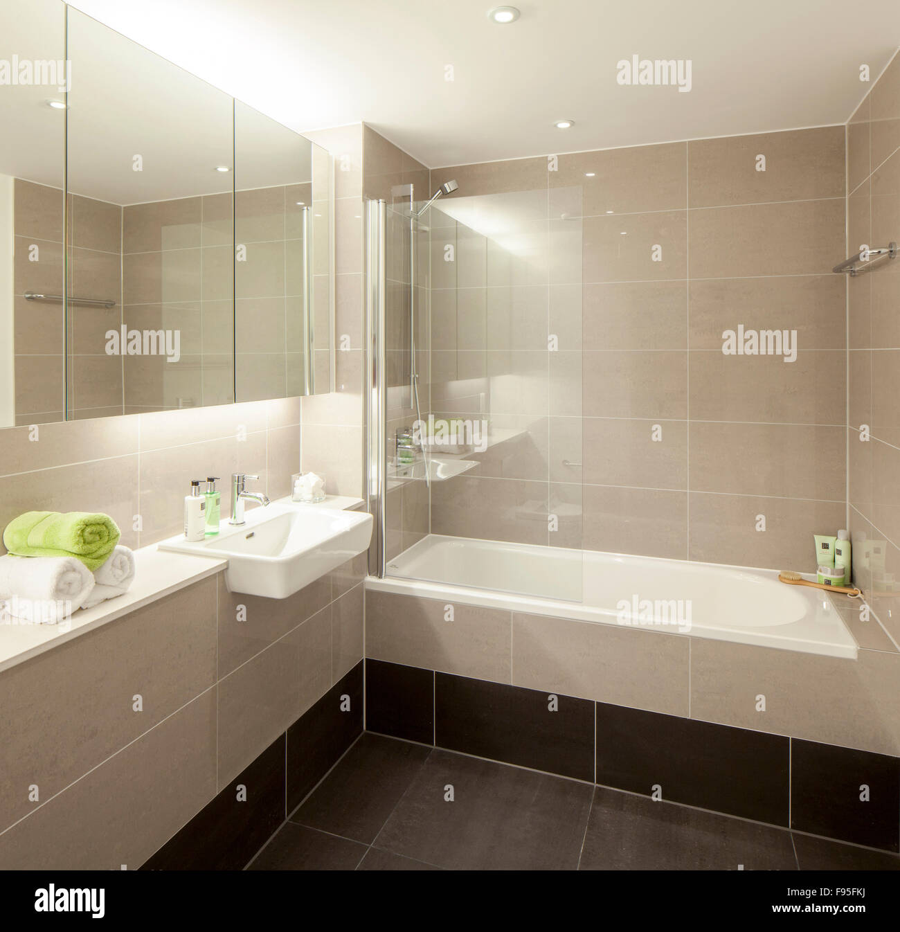 One Church Square, London, UK. Corner view of a modern bathroom in ...