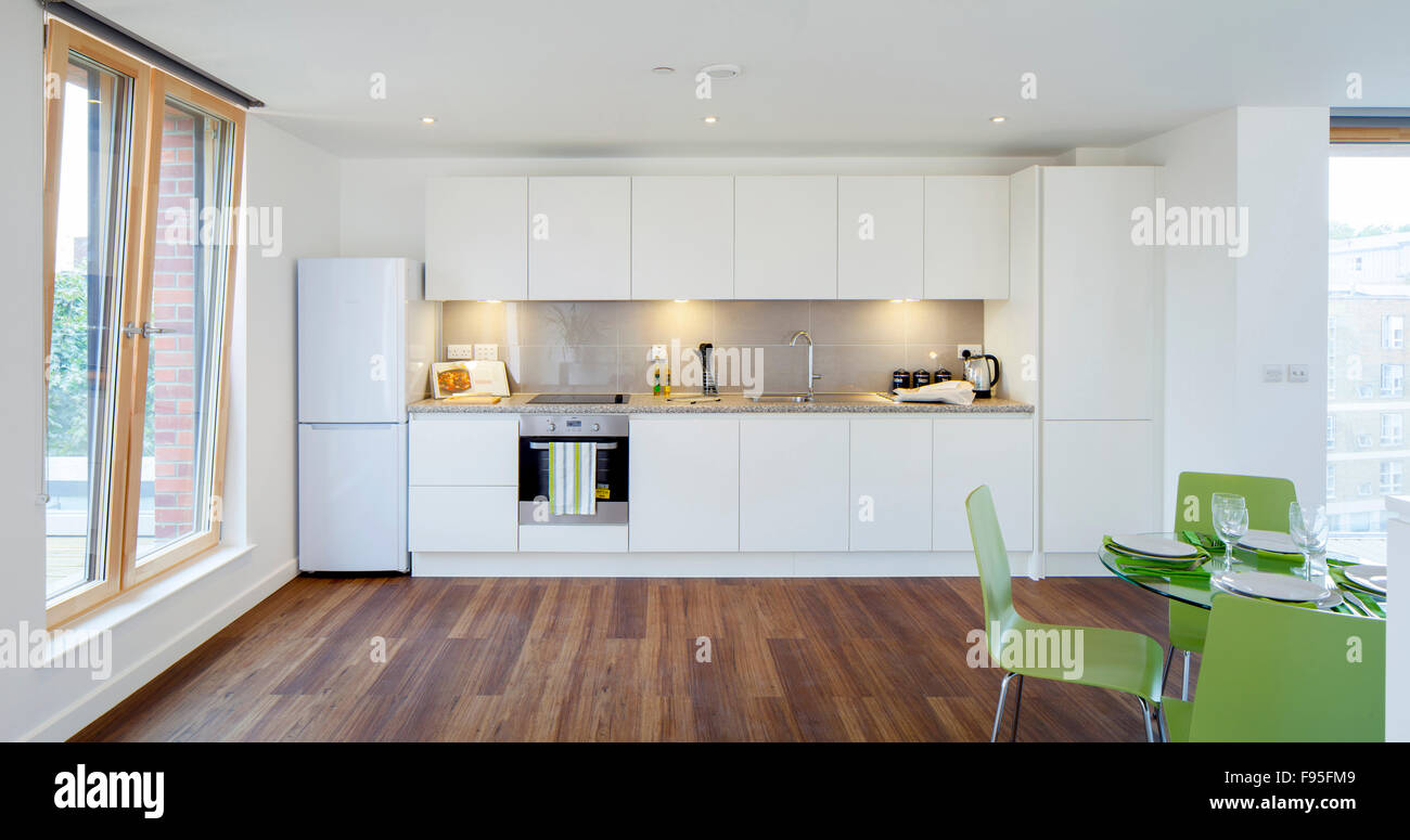 One Church Square, London, UK. Interior view of an open plan kitchen ...
