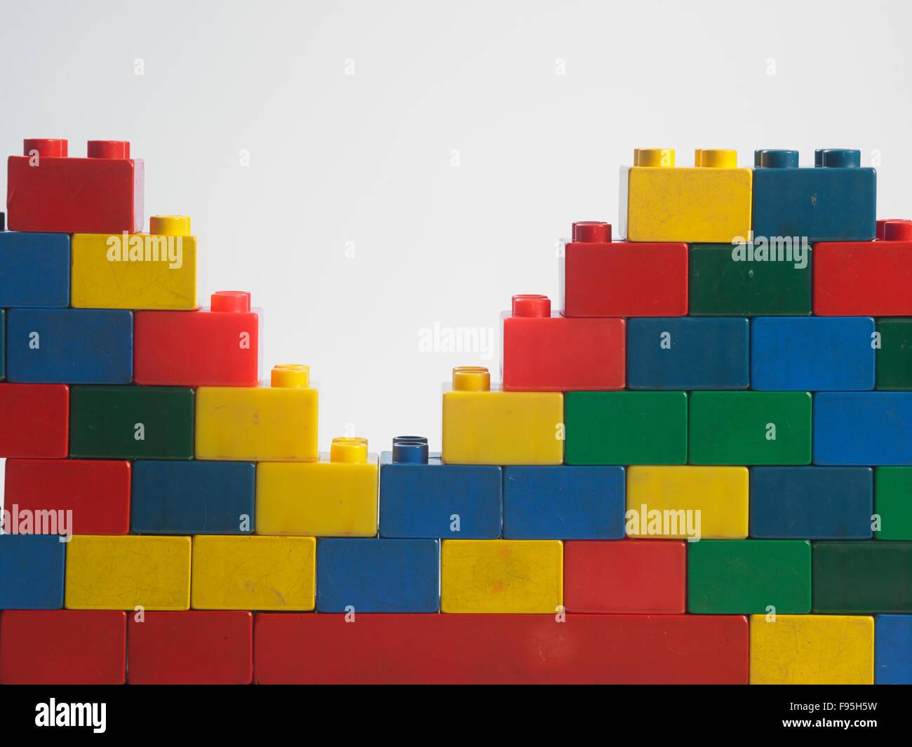 Plastic building blocks, isolated on white Stock Photo: 91706997 - Alamy