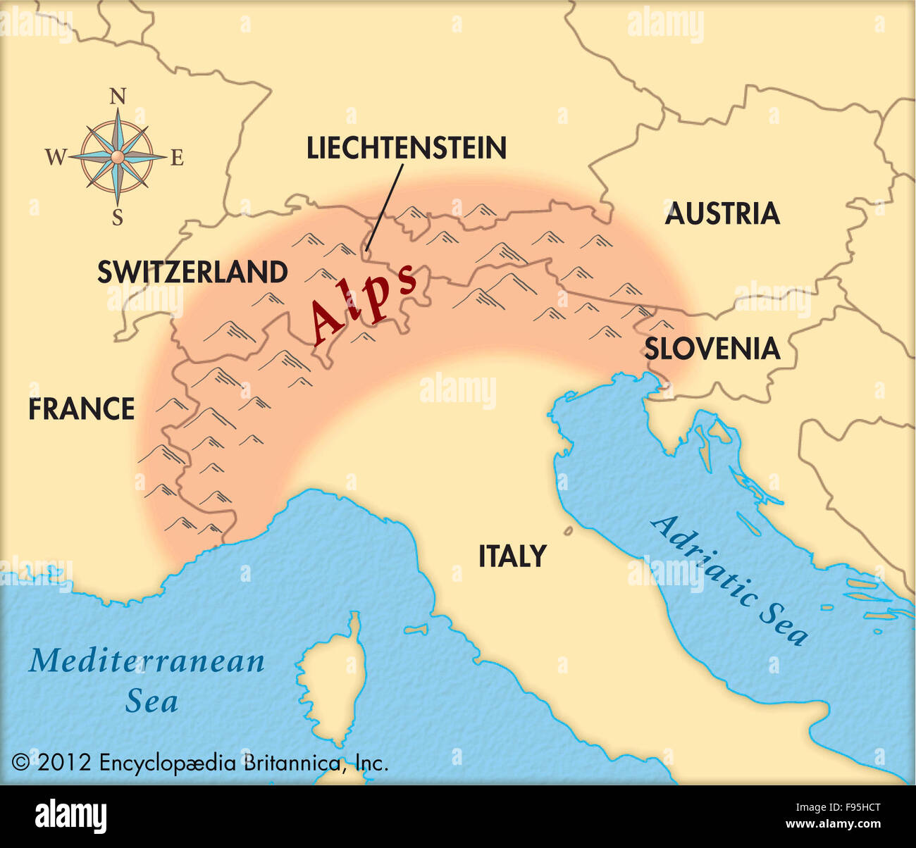 Alps Mountain Range World Map Showing. World Map With ...