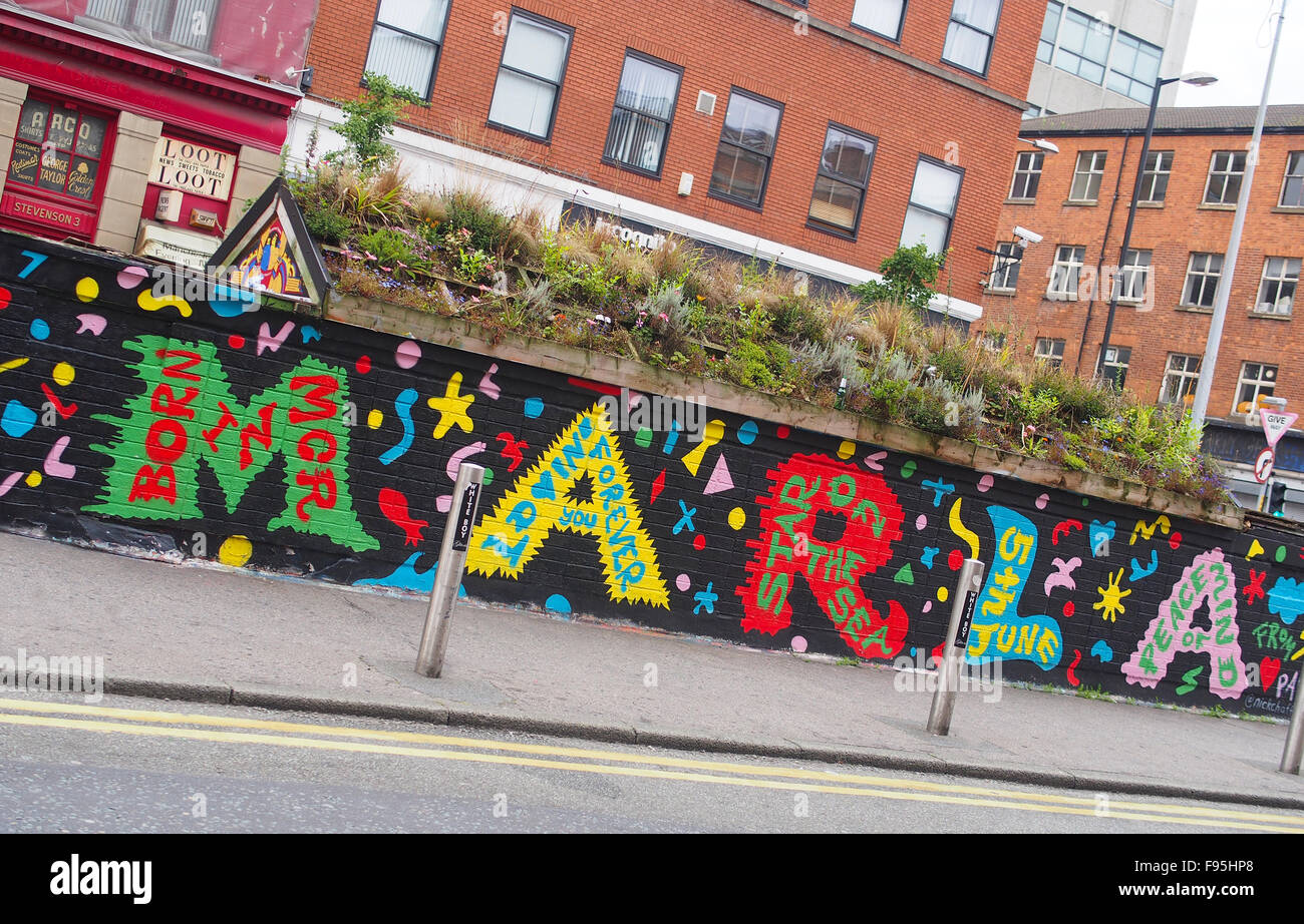 Street art in Stevenson Square, Lever Street, Manchester city centre, UK. - Stock Image
