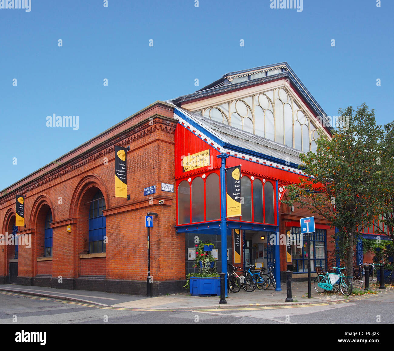 Exterior of the Manchester Crafts and Design Centre on Oak Street, in the Norther Quarter of Manchester, UK. Stock Photo