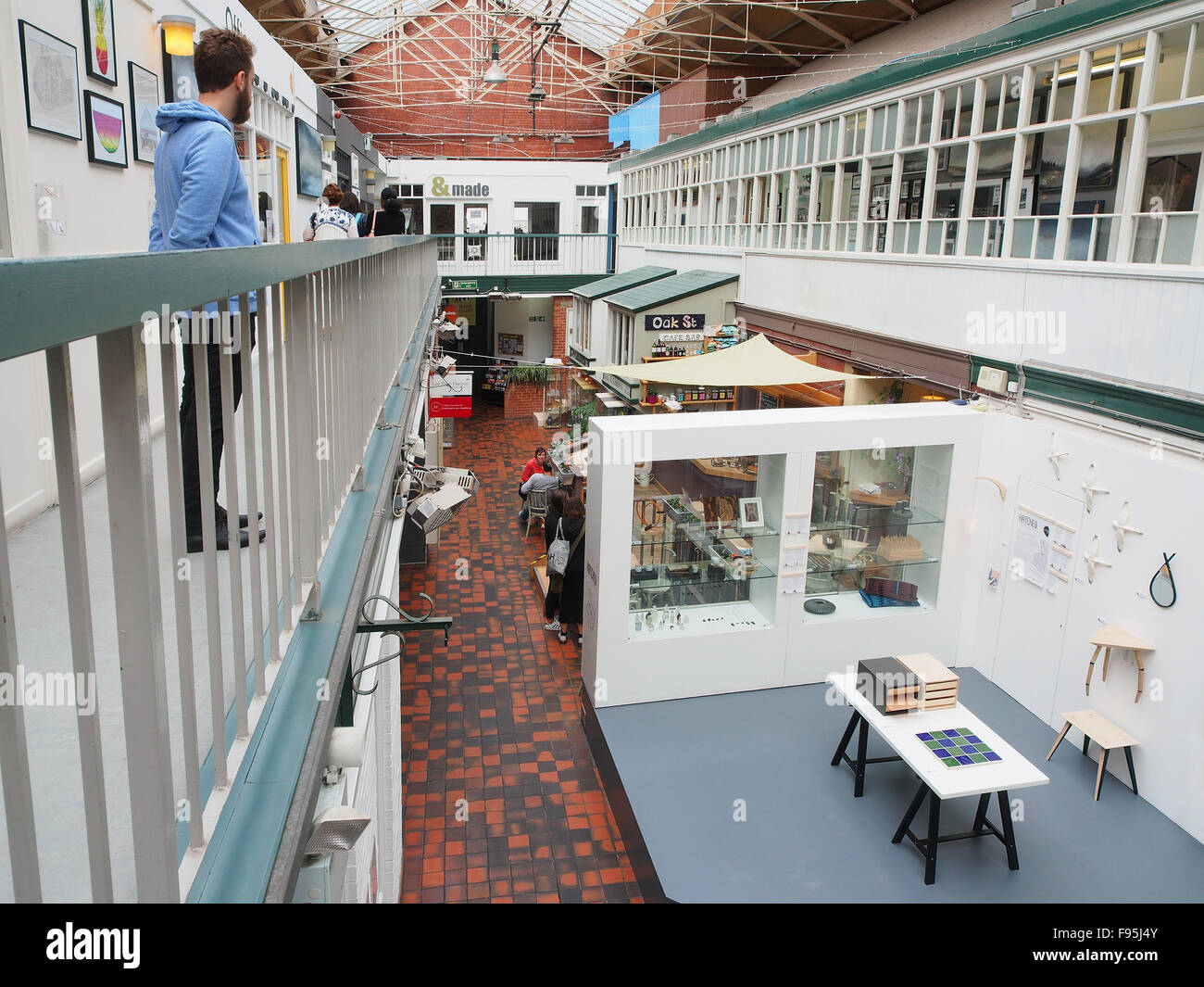 Interior of the Manchester Crafts and Design Centre on Oak Street, in the Norther Quarter of Manchester, UK. Stock Photo